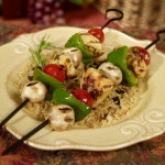 Tuscan style chicken kebabs